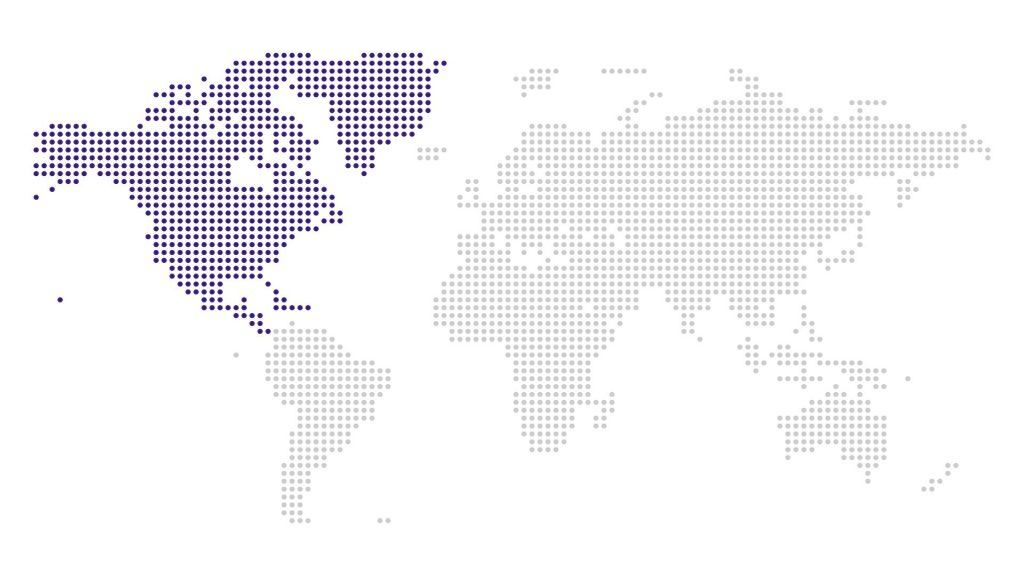 North America Region on map